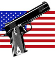gun on usa flag - focus on gun - weapons problem vector image vector image