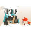 hand drawn abstract fun merry christmas and vector image