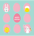 happy easter text painted egg frame set bunny vector image