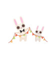 happy family bunnies father and barabbits vector image