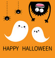 Happy halloween card two flying ghost spirit