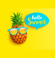 hello summer greeting banner with pineapple vector image