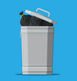 huge waste trash can isolated on blue vector image vector image