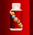 jackpot plastic bottle over red background vector image vector image
