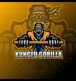 kungfu gorilla esport mascot logo vector image vector image