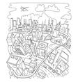 Line draw futuristic city architecture vector image vector image