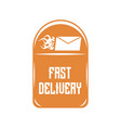 logo of quick delivery of letters on an orange vector image