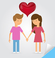 Love marriage couple and red heart between of them vector image
