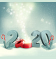 merry christmas retro background with 2020 and vector image vector image