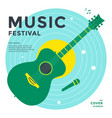 music festival poster design template with guitar vector image