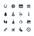 new year icons set vector image vector image