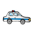 police car on white background cute cartoon vector image