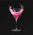 realistic cocktail cosmopolitan glass vector image
