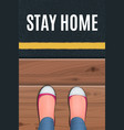 red shoes standing on a wooden porch vector image