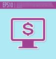 retro purple computer monitor with dollar icon vector image vector image