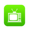 retro tv icon digital green vector image