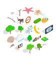 sanctuary icons set isometric style vector image vector image