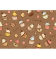 Seamless background with cupcakes pattern vector image