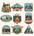 set of summer camp badges concept for vector image