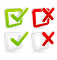 stylish checkmark and cross set with green red vector image vector image