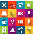 Summer beach icons collection of white icons on vector image