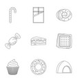 sweet food icon set outline style vector image vector image