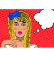 Thinking woman with speech bubble vector image vector image