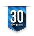 Thirty years happy birthday ribbon vector image