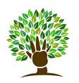 tree hand symbol logo vector image vector image