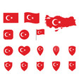 turkey flag icon set flag republic of vector image