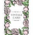 Vintage elegant card with peony flowers Black and vector image vector image