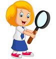 woman holding a magnifier vector image vector image