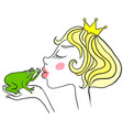 young princess kisses unhappy green frog frog vector image