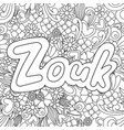 zouk zen tangle doodle background with flowers vector image