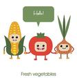 Cartoon Cute smiling vegetables corn tomato vector image