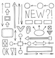 a set hand-drawn arrows and schemes vector image