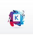 abstract letter k logo design template vector image