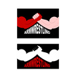 Armwrestling logo Two strong hands vector image