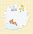 bashower lace card with little bear teddy vector image vector image