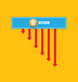bitcoin market crash graph on orabge vector image vector image