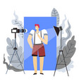 blogger and internet profession or hobby man and vector image vector image