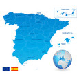 blue administrative map spain vector image vector image