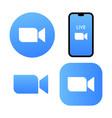 blue camera icon - zoom app logo - live vector image vector image