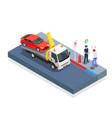 car evacuation isometric design concept vector image