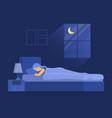 cartoon color character woman sleeping in bedroom vector image
