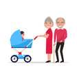 cartoon grandparents with a pram a toddler vector image vector image