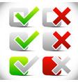 checkmark cross symbols checkboxes vector image