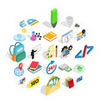 chemical substance icons set isometric style vector image