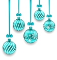 Christmas Background with Turquoise Glassy Balls vector image