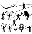 circus performers acrobat stunt animal man stick vector image
